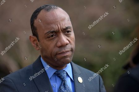 """NAACP President Cornell William Brooks speaks outside the Justice Department in Washington, following a meeting with Attorney General Jeff Sessions. Brooks said he met with Sessions over concerns that recent policy changes """"signal a threatening decline"""" in the Justice Department's commitment to civil rights"""
