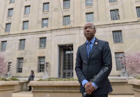 """Stock Picture of NAACP President Cornell William Brooks speaks outside the Justice Department in Washington, following a meeting with Attorney General Jeff Sessions. Brooks said he met with Sessions over concerns that recent policy changes """"signal a threatening decline"""" in the Justice Department's commitment to civil rights"""
