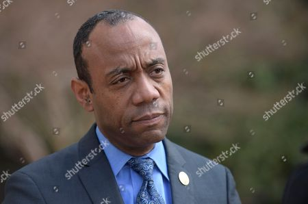 """Stock Image of NAACP President Cornell William Brooks speaks outside the Justice Department in Washington, following a meeting with Attorney General Jeff Sessions. Brooks said he met with Sessions over concerns that recent policy changes """"signal a threatening decline"""" in the Justice Department's commitment to civil rights"""