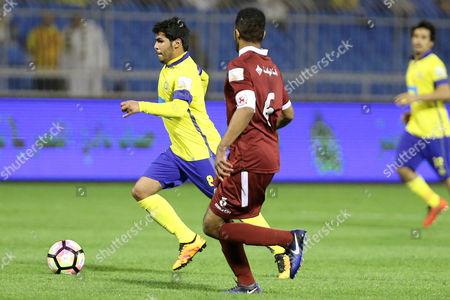 Al-Faisaly player Omar Abdulaziz (L) in action for the ball with Al-Nassr player Yahya Al-Shehri (R) during the Saudi Professional League soccer match between Al-Nassr and Al-Faisaly at prince Mohammed Bin Fahd Stadium in Riyadh, Saudi Arabia, 03 March 2017.