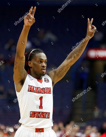 Illinois State's Paris Lee celebrates during the first half of an NCAA college basketball game against Evansville in the quarterfinals of the Missouri Valley Conference men's tournament, in St. Louis