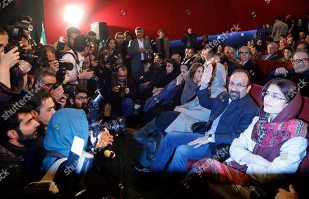 Stock Picture of Asghar Farhadi, Parisa Bakht Avar and Sarina Farhadi