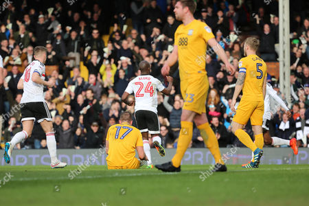 Fulham striker Sone Aluko (24) celebrating after scoring 1-0 during the EFL Sky Bet Championship match between Fulham and Preston North End at Craven Cottage, London