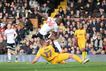 Fulham striker Sone Aluko (24) scoring 1-0 during the EFL Sky Bet Championship match between Fulham and Preston North End at Craven Cottage, London