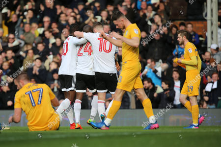 Fulham striker Sone Aluko (24) celebrating after scoring during the EFL Sky Bet Championship match between Fulham and Preston North End at Craven Cottage, London
