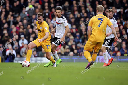 Preston North End defender Tommy Spurr (17) controlling the ball during the EFL Sky Bet Championship match between Fulham and Preston North End at Craven Cottage, London
