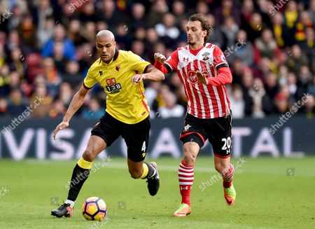 Younes Kaboul of Watford and Manolo Gabbiadini of Southampton during the Premier League match between Watford and Southampton played at Vicarage Road, Watford on 4th March 2017