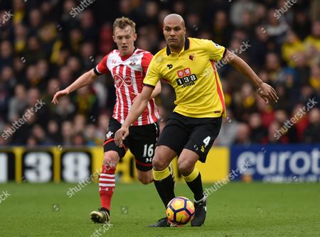 James Ward-Prowse of Southampton and Younes Kaboul of Watford during the Premier League match between Watford and Southampton played at Vicarage Road, Watford on 4th March 2017