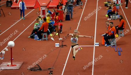 Germany's Jenny Elbe makes an attempt in the women's triple jump final during the European Athletics Indoor Championships in Belgrade, Serbia