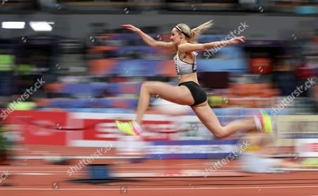 Jenny Elbe of Germany competes in the Women's Triple Jump final at the European Athletics Indoor Championships in Belgrade, Serbia, 04 March 2017.