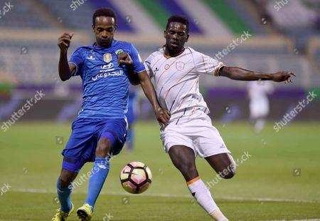 Al-Shabab player Abdulaziz Albishi (R) in action for the ball with Al-Fateh player Hazazi (L) during the Saudi Professional League soccer match between Al-Fateh and Al-Shabab at Prince Abdullah bin Jalawi Stadium, Al-Hasa, Saudi Arabia, 04 March 2017.