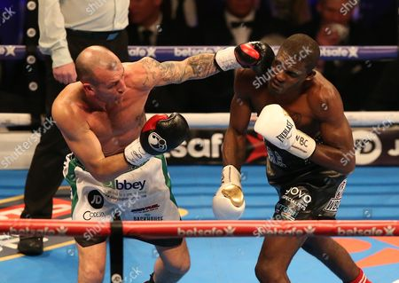 Ohara Davies competes with  Derry Mathews   at The O2 Arena , Peninsula Square  , London  on 4th March  2017