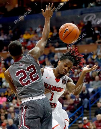 Armon Fletcher, Paris Lee Illinois State's Paris Lee, right, loses control of the ball as Southern Illinois' Armon Fletcher defends during the first half of an NCAA college basketball game in the semifinals of the Missouri Valley Conference men's tournament, in St. Louis