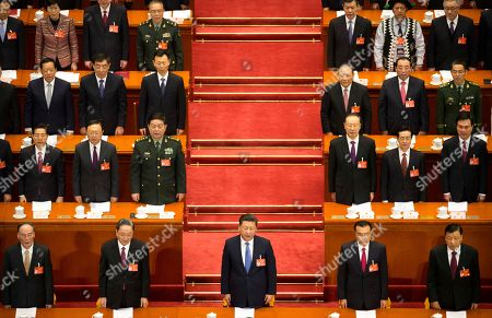 Wang Qishan, Yu Zhengsheng, Xi Jinping, Li Keqiang, Liu Yunshan From front left, Wang Qishan, Yu Zhengsheng, Chinese President Xi Jinping, Premier Li Keqiang, and Liu Yunshan stand during the start of the opening session of China's annual National People's Congress in Beijing's Great Hall of the People, . China's top leadership as well as thousands of delegates from around the country are gathered at the Chinese capital for the annual legislature meetings