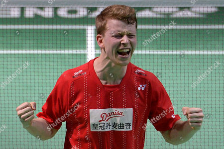Kim Astrup of Denmark reacts after winning his men's doubles final with Anders Skaarup Rasmussen against Mads Conrad-Petersen and Mads Pieler Kolding of Denmark during the YONEX German Open 2017 badminton tournament in Muelheim Ruhr, Germany, 05 March 2017.