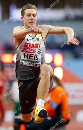 Germany's Max Hess makes an attempt in the men's triple jump final during the European Athletics Indoor Championships in Belgrade, Serbia