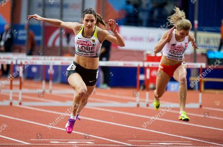 Ricarda Lobe of Germany competes in the Women's 60 metres Hurdles heats