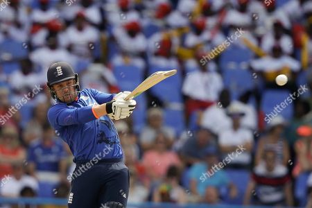 Stock Picture of England's Jason Roy plays a shot from the bowling of West Indies' captain Jason Holder during their second one day international cricket match at the Sir Vivian Richards Stadium in North Sound, Antigua