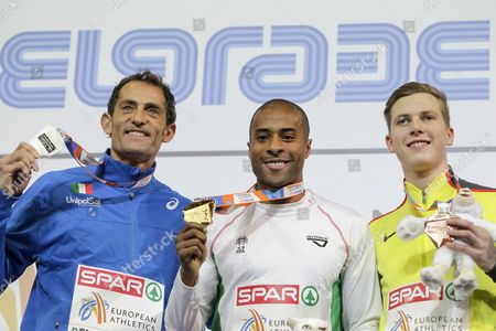 Gold medalist Evora Nelson (C) of Portugal, bronze medalist Max Hess (R) of Germany and silver medalist Donato Fabrizio (L) of Italy pose during the award ceremony of the men's Triple Jump Men Final at the European Athletics Indoor Championships in Belgrade, Serbia, 05 March 2017.