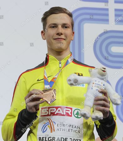 Bronze medalist Max Hess of Germany poses during the award ceremony of the men's Triple Jump Men Final at the European Athletics Indoor Championships in Belgrade, Serbia, 05 March 2017.
