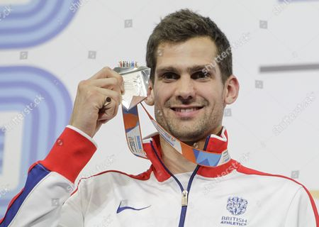Silver medalist Robbie Grabarz of Great Britain poses during the award ceremony of the Men's High Jump competition at the European Athletics Indoor Championships in Belgrade, Serbia, 05 March 2017.