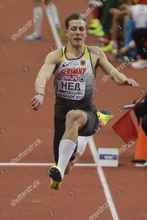 Max Hess of Germany in action during the Men's Triple Jump Final at the European Athletics Indoor Championships in Belgrade, Serbia, 05 March 2017.