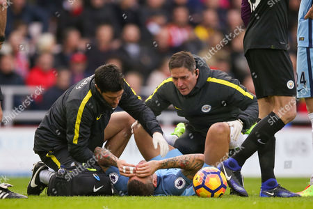 Manchester City defender Aleksander Kolarov (11)  gets treatment during the Premier League match between Sunderland and Manchester City at the Stadium Of Light, Sunderland