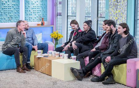 Tim Lovejoy and Simon Rimmer with You Me At Six - Josh Franceschi, Max Helyer, Chris Miller, Matt Barnes, Dan Flint