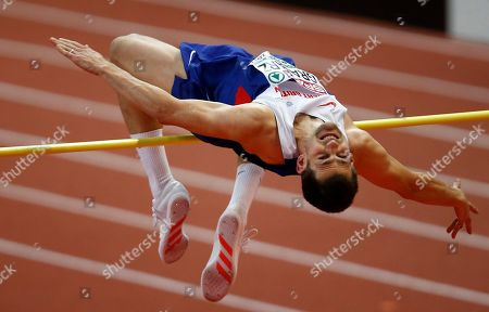 Britain's Robbie Grabarz makes an attempt in the men's high jump final during the European Athletics Indoor Championships in Belgrade, Serbia