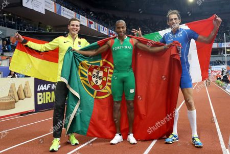 (L-R) Bronze medalist Max Hess of Germany, gold medalist Nelson Evora of Portugal and silver medalist Fabrizio Donato of Italy pose after the Men's Triple Jump final at the European Athletics Indoor Championships in Belgrade, Serbia, 05 March 2017.