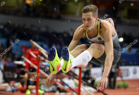 Germany's Max Hess in action during the Men's Triple Jump final at the European Athletics Indoor Championships in Belgrade, Serbia, 05 March 2017.