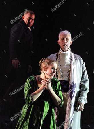 Laura Mitchell as Tosca, Aled Hall as Spoletta, Craig Smith as Scarpia