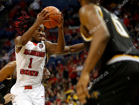 Stock Picture of Illinois State's Paris Lee heads to the basket during the first half of an NCAA college basketball game against Wichita State in the championship of the Missouri Valley Conference men's tournament, in St. Louis