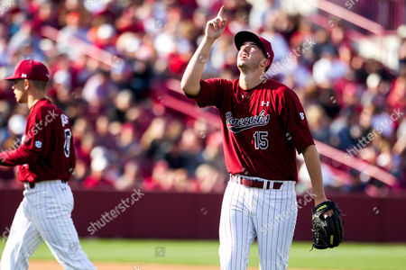 Gamecocks pitcher Adam Hill (15) comes out of the game in sixth inning of the NCAA Baseball matchup at Founders Park in Columbia, SC