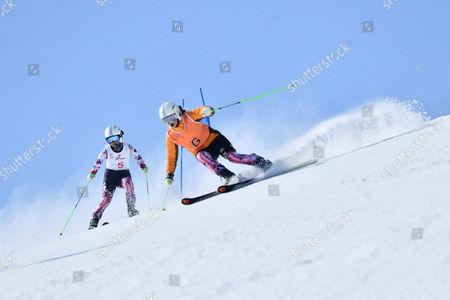 Stock Photo of (L-R) Yang Jae Rim, Ko Un So Ri (KOR) - Alpine Skiing : IPC Alpine World Cup Hakuba, Women's Giant Slalom Visual Impairment at Hakuba Happo One, Nagano Japan.