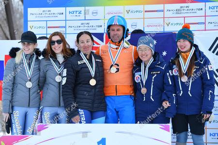 (L-R) Henrieta Farkasova, Natalia Subrtova (SVK), Melissa Perrine, Andrew Bor (AUS), Yang Jae Rim, Ko Un So Ri (KOR) - Alpine Skiing : IPC Alpine World Cup Hakuba, Women's Giant Slalom Visual Impairment Award ceremony at Hakuba Happo One, Nagano Japan.