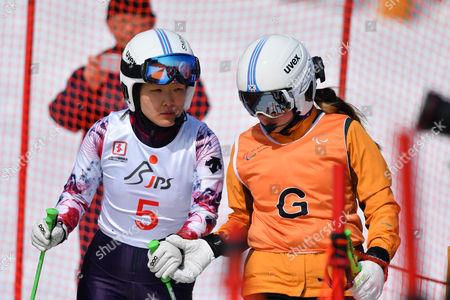 (L-R) Yang Jae Rim, Ko Un So Ri (KOR) - Alpine Skiing : IPC Alpine World Cup Hakuba, Women's Giant Slalom Visual Impairment B2 at Hakuba Happo One, Nagano Japan.