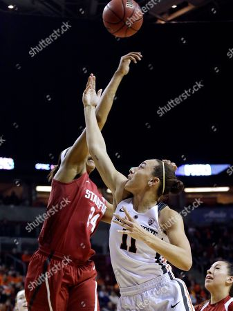 Gabriella Hanson, Erica McCall Stanford's Erica McCall, left, blocks a shot by Oregon State's Gabriella Hanson in the first half of the Pac-12 Conference championship NCAA college basketball game, in Seattle