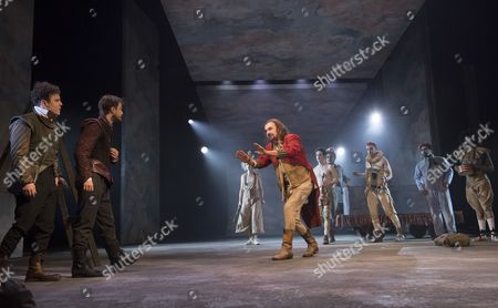 Joshua McGuire as Guildenstern, Daniel Radcliffe as Rosencrantz, David Haig as the Player