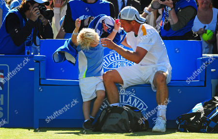 Cruz Hewitt Son of Lleyton Refuses His Father's Offer of A Towel After His Win Against Juan Martin Del Potro United Kingdom London
