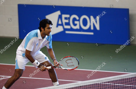 Aisam Qureshi of Pakistan in Action During the Semi Final Stage of the Mens Doubles at the Aegon Pro Series Tennis Tournament in Sheffield United Kingdom Sheffield