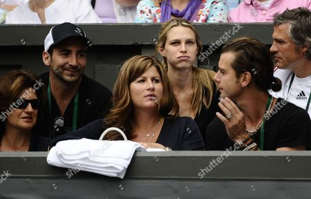 Sara Foster (back Row Second From the Left) Girlfriend of Tommy Haas of Germany Sits Behind Mirka Vavrinec Wife of Roger Federer United Kingdom London