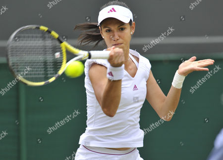 Ioana Raluca Olaru of Roumania As She Plays A Shot On Her Way to Losing Her Second Round Match United Kingdom London