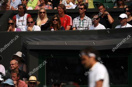 Miroslava Vavrinec Looks Onto Her Husband Roger Federer of Switzerland United Kingdom London