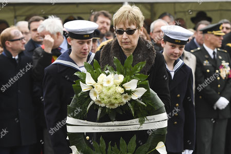 Alison Rose lays a wreath at the Official commemoration at sea and ceremony with a floral tribute at the monument in Zeebrugge following the 30th anniversary of the disaster of the Herald of Free Enterprise