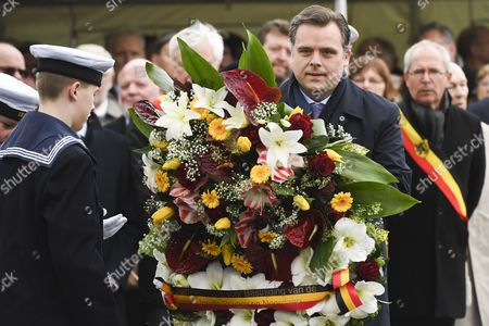 Philippe De Backer lays a wreath at the Official commemoration at sea and ceremony with a floral tribute at the monument in Zeebrugge following the 30th anniversary of the disaster of the Herald of Free Enterprise