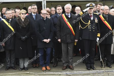 Stock Photo of Ben Weyts, Philippe De Backer, Renaat Landuyt, Alison Rose attend the official commemoration at sea and ceremony with a floral tribute at the monument in Zeebrugge following the 30th anniversary of the disaster of the Herald of Free Enterprise