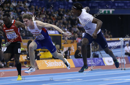 Great Britain & N I Lawrence Clarke (2nd) and United States Jarret Eaton (3rd) in the Men's 60m Hurdles Final United Kingdom King Edwards Rd, Birmingham