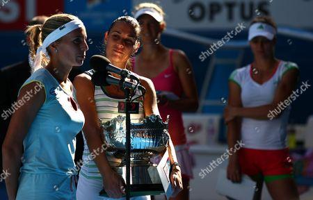 Gisela Dulko of Argentina and Flavia Pannetta of Italy Celebrate Their Win Over Maria Kirilenko of Russia and Victoria Azarenka of Belarus at the Australian Open Melbourne 2011 Australia Melbourne