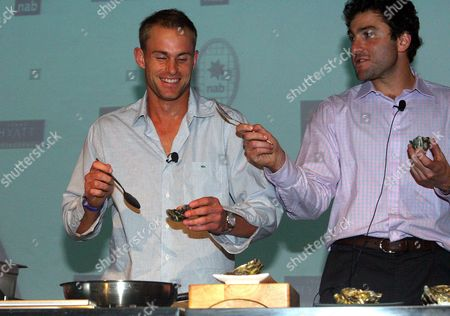 Andy Roddick and Justin Gimelstob of the United States of America at the Taste of Tennis Grand Hyatt Melbourne Australia Melbourne